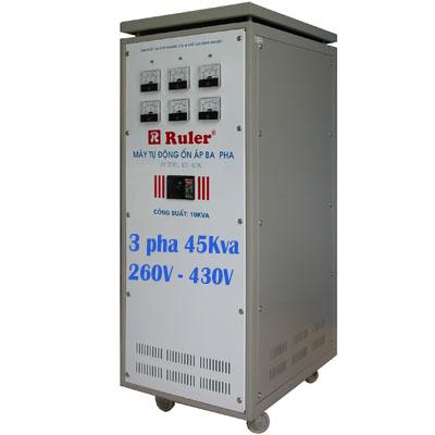 Ổn áp 3 pha Ruler 45Kva dải điện áp 260V - 430V